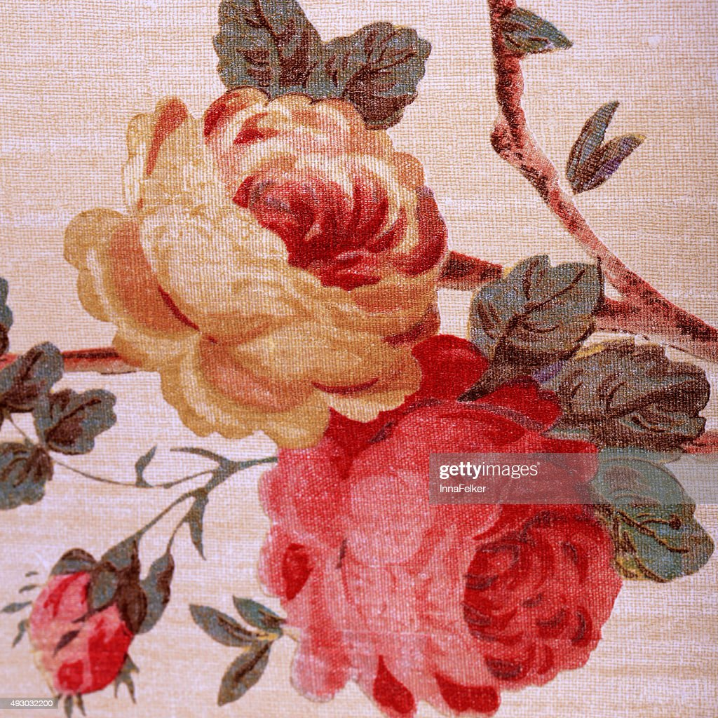 Vintage Wallpaper With Red Rose Floral Victorian Pattern High Res