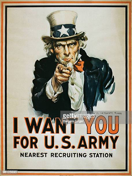 Vintage war poster of Uncle Sam pointing