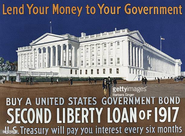 Vintage war poster of United States Treasury Building