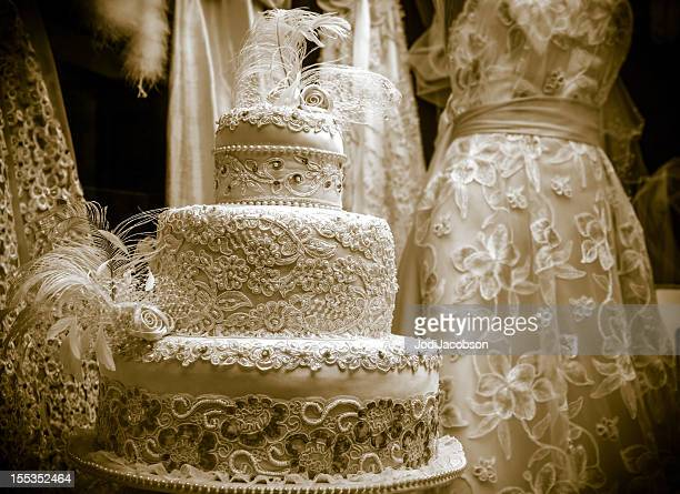 Vintage wedding cake stock photos and pictures getty images vintage wedding cake display junglespirit Images