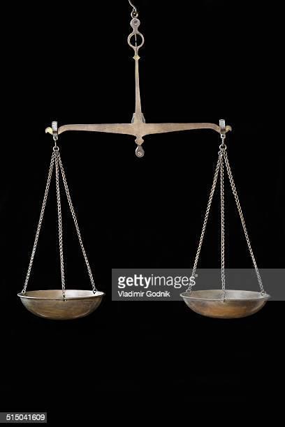 Vintage weighing scales hanging against black background
