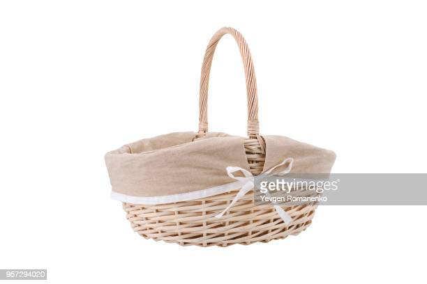 vintage wicker basket isolated on white background - basket stock photos and pictures