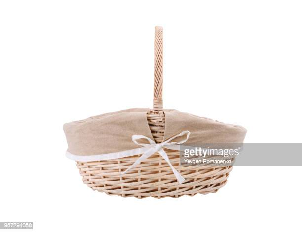 Vintage wicker basket isolated on white background