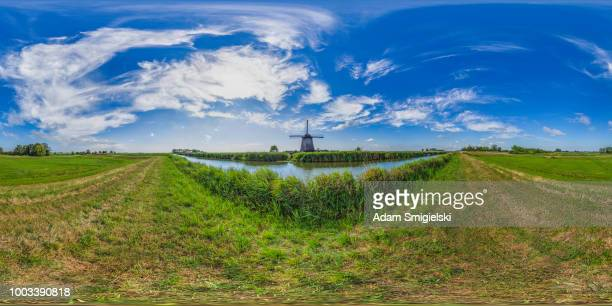 vintage windmills of netherlands (360 degree hdri panorama) - 360 degree view stock pictures, royalty-free photos & images