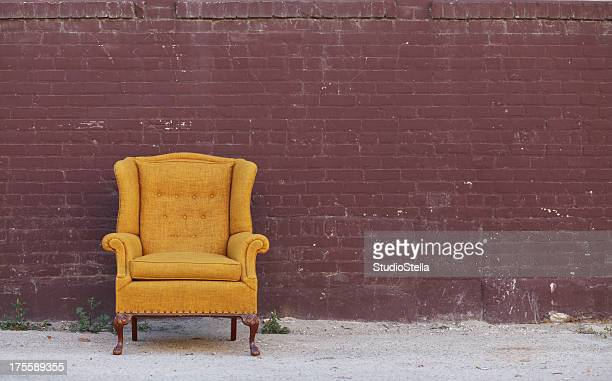 Vintage Wingback Chair & Brick wall