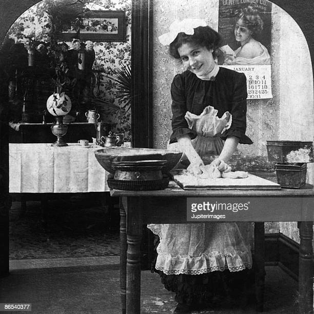 Vintage woman making bread dough