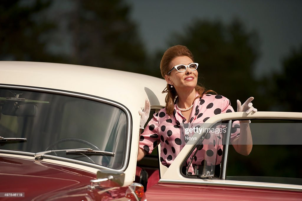 Vintage Woman Portret At An Old Car Stock Photo   Getty Images
