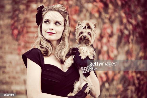 Vintage Woman with Yorkshire Terrier