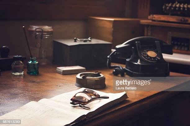 Vintage wooden desk scene
