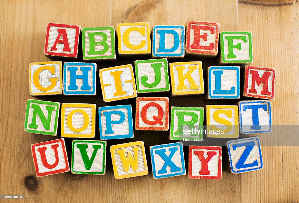 Vintage wooden letters blocks, alphebetical order : Stock Photo