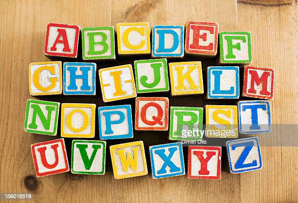 Vintage wooden letters blocks, alphebetical order