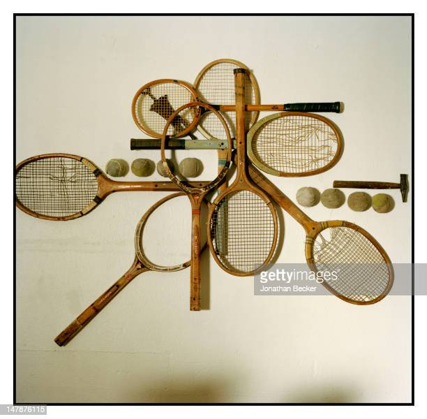Vintage wooden rackets at the Coral Beach and Tennis Club are photographed for Town Country Magazine on April 16 2011 in Paget Parish Bermuda...