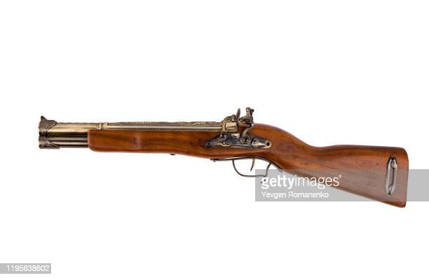 vintage wooden rifle isolated on white background - rifle stock pictures, royalty-free photos & images