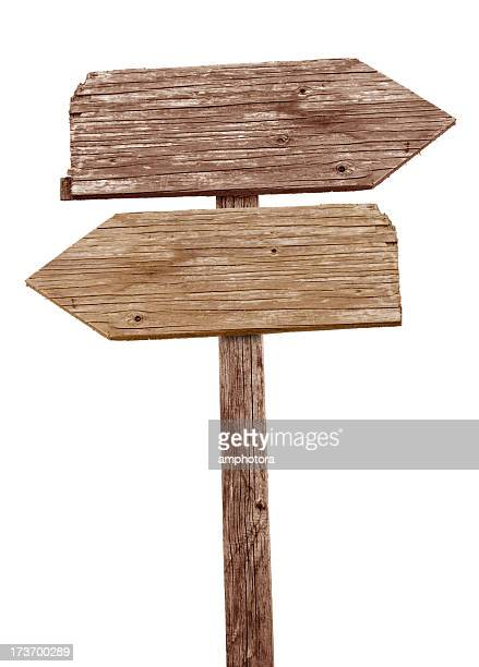 Vintage wooden road sign pointing in different directions
