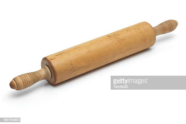 Vintage Wooden Rolling Pin on White