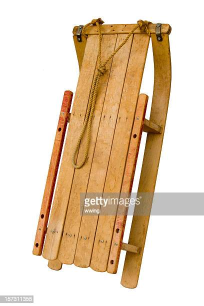 Vintage Wooden Sled on a White Background