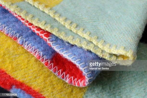 vintage woollen blankets - 裾 ストックフォトと画像