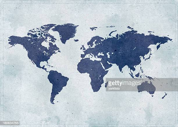 vintage world map - world map stock photos and pictures