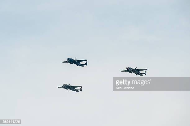 Vintage World War II planes fly over the National Mall during an array of other World War II aircraft ever assembled to fly over the National Mall...
