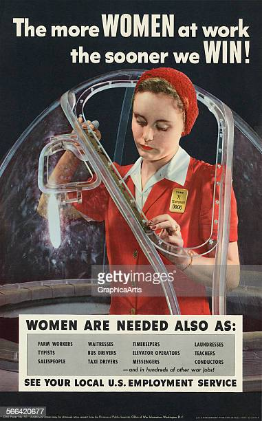 Vintage WWII poster 'The More Women at Work the Sooner We Win' with a woman working in an airplane factory halftone from a photograph 1943 Published...