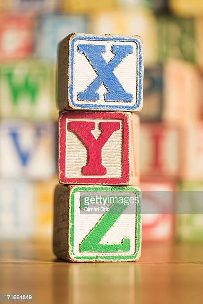 Vintage XYZ kids alphabet blocks