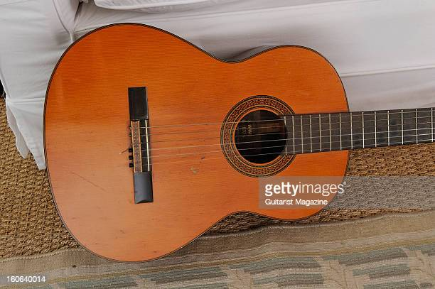 A vintage Yamaha G100A classical guitar owned by English guitarist Snowy White photographed during a portrait shoot for Guitarist Magazine January 17...