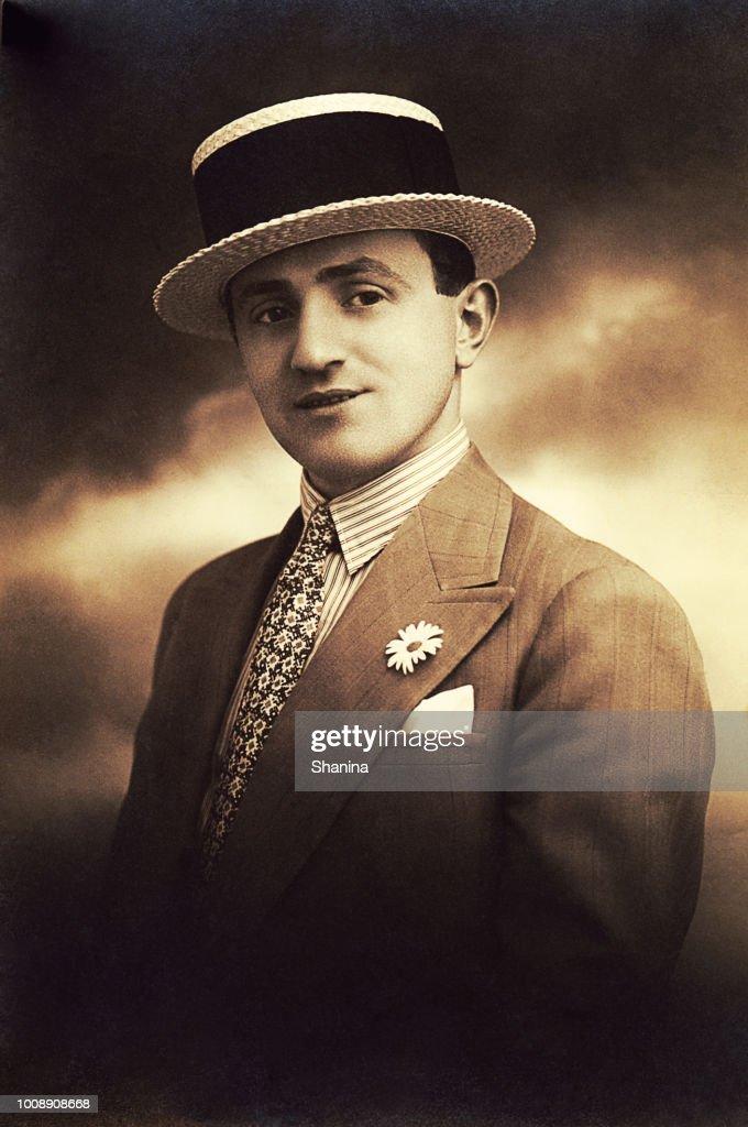 Vintage young handsome man portrait : Stock Photo