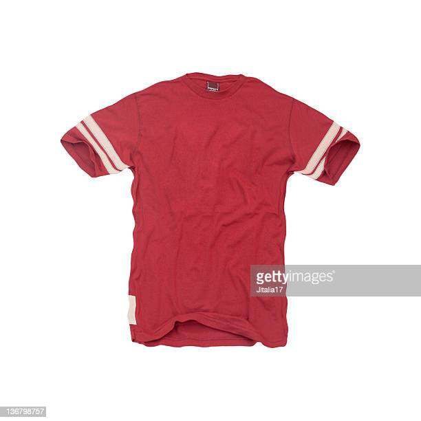 vintage-red football jersey - blank - american football strip stock pictures, royalty-free photos & images