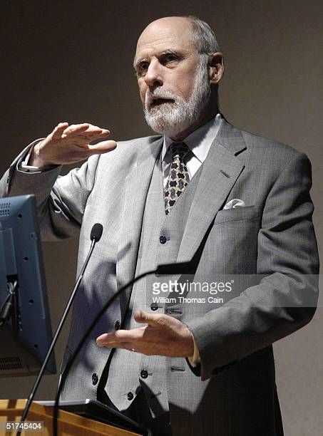 Vinton Cerf whose pioneering work in computers has led him to be called a 'Father of the Internet' gestures as he speaks to students at Temple...