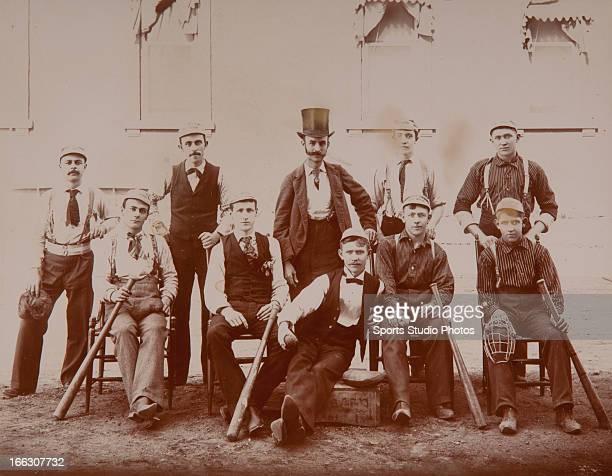 Vintqge Baseball Team Photo 1880 Detroit Michigan baseball team photo Note early equipment including huge period bats