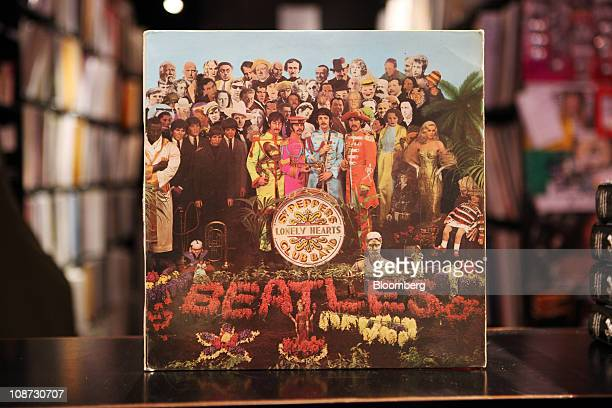 A vinyl LP for 'Sgt Pepper's Lonely Hearts Club Band' by The Beatles a band signed to the EMI music label sits on display at a record store in London...