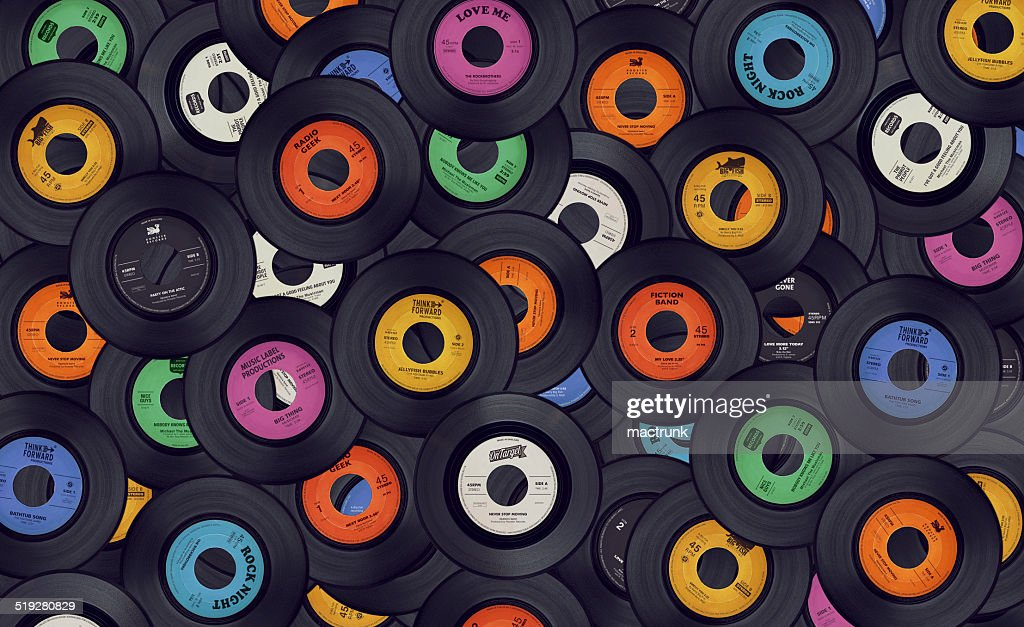 Vinyl music records background : Stock Photo