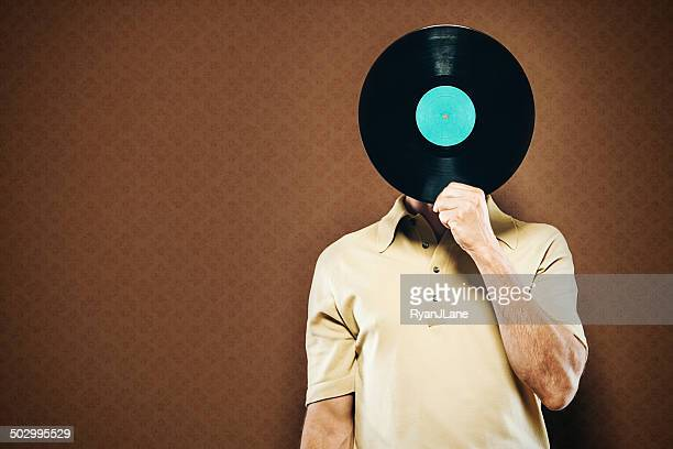 vinyl record head - obscured face stock pictures, royalty-free photos & images