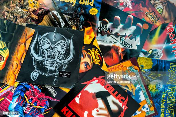 vinyl record sleeves - 80s rock music stock photos and pictures