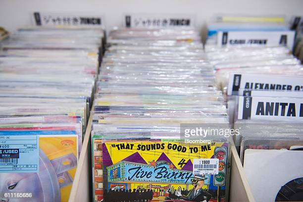 Vinyl records are displayed for sale at the HMV Record Shop operated by Lawson HMV Entertainment Inc in the Shibuya district of Tokyo Japan on...