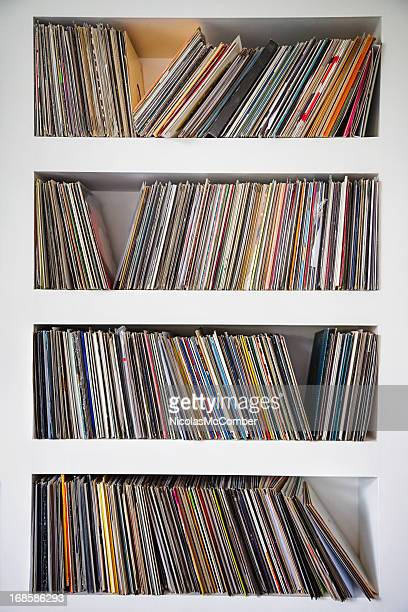 Vinyl records collection in custom wall shelves