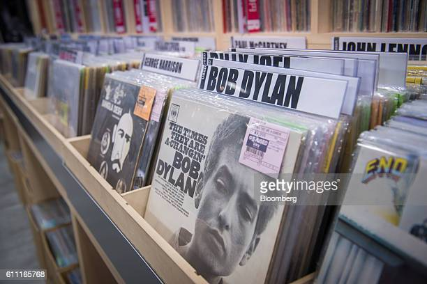 Vinyl records including Bob Dylan's 'The Times They Are AChangin'' are displayed for sale at the HMV Record Shop operated by Lawson HMV Entertainment...