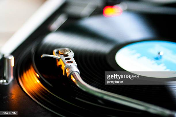 Vinyl spins on DJ turntable