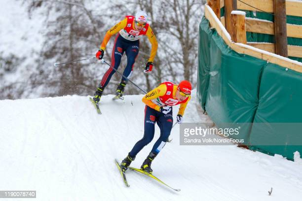 Vinzenz Geiger and Eric Frenzel compete in the FIS Nordic Combined World Cup, Individual Gundersen , on December 22, 2019 in Ramsau am Dachstein,...