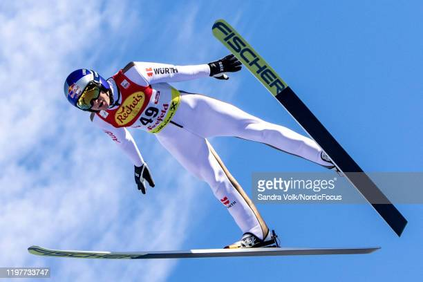 Vinzenz Geiger of Germany competes during the Men's Gundersen Normal Hill HS109/5.0 Km at the Viessmann FIS Nordic World Cup Seefeld on January 31,...