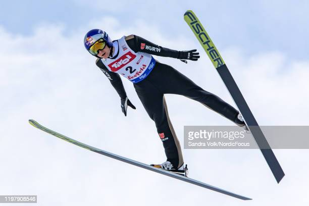 Vinzenz Geiger of Germany competes during the Men's Gundersen Normal Hill HS109/10.0 Km at the Viessmann FIS Nordic World Cup Seefeld on February 1,...