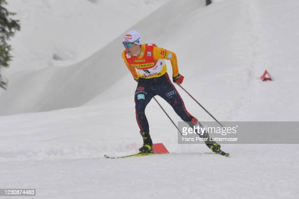 Vinzenz Geiger of Germany competes during the Men's Gundersen Normal Hill HS109/10.0 Km at the Viessmann FIS Nordic Combined World Cup Seefeld on...
