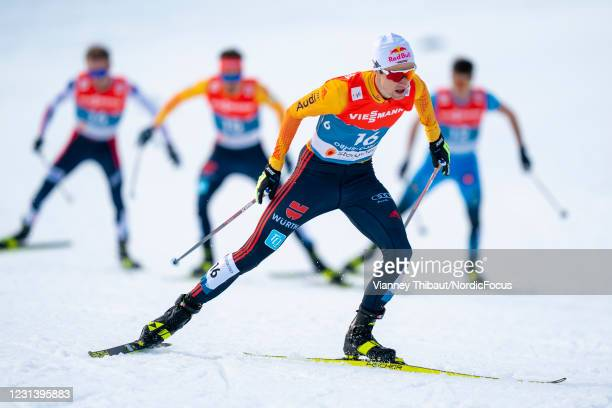 Vinzenz Geiger of Germany competes during the Men's Nordic Combined Gundersen Normal Hill HS106/10.0 Km at the FIS Nordic World Ski Championships...