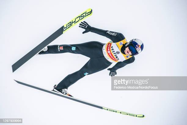 Vinzenz Geiger of Germany competes during the Men's Team Sprint HS130/2x7.5 Km at the Viessmann FIS Nordic Combined World Cup Lahti at on January 23,...