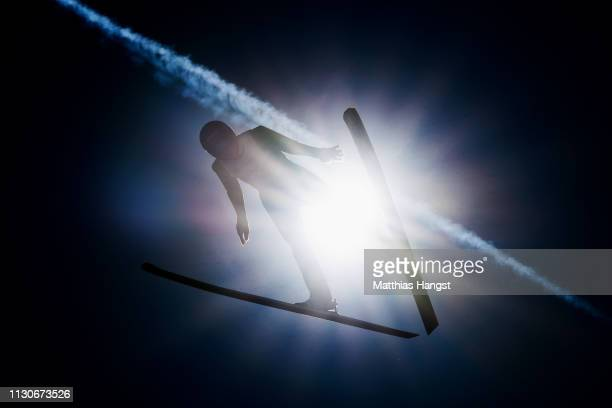Vinzenz Geiger of Germany jumps during the ski jumping training for the Nordic Combined ahead of the FIS Nordic World Ski Championships on February...