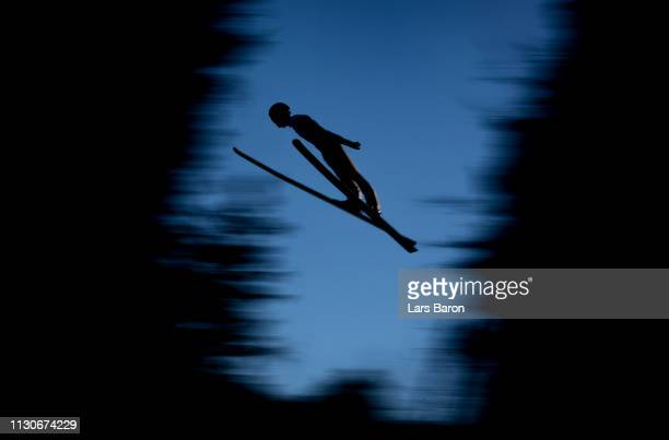 Vinzenz Geiger of Germany jumps during the ski jumping training for the Nordic Combined ahead of the FIS Nordic World Ski Championships the on...
