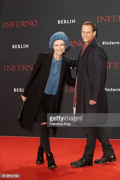 Vinzenz Kiefer and his wife Masha Tokareva attend the German premiere of the film 'INFERNO' at Sony Centre on October 10, 2016 in Berlin, Germany.