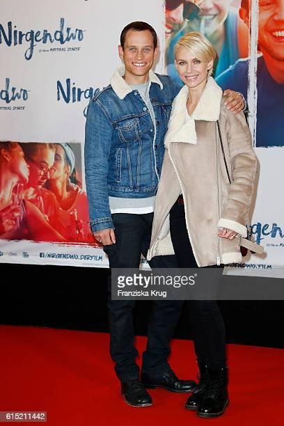 Vinzenz Kiefer and his wife Masha Tokareva attend the German premiere of the film 'Nirgendwo' at Cubix Alexanderplatz on October 17 2016 in Berlin...