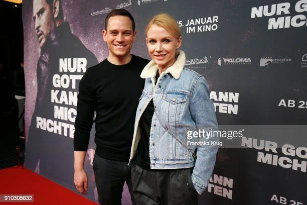 Vinzenz Kiefer and his wife Masha Tokareva attend the 'Nur Gott kann mich richten' Screening at Cubix Alexanderplatz on January 25 2018 in Berlin...