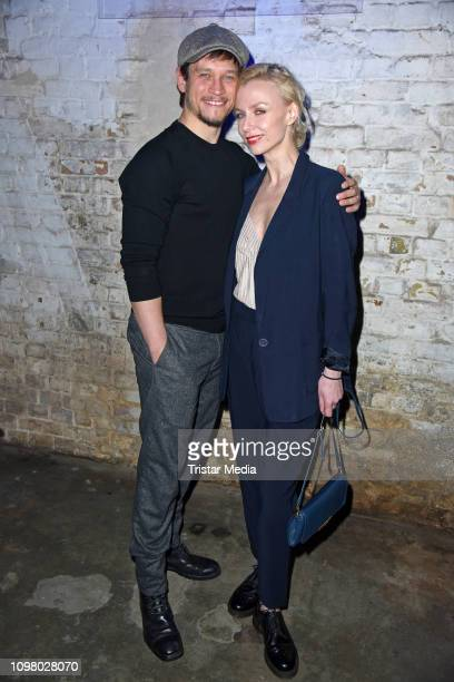 Vinzenz Kiefer and his wife Masha Tokareva attend the Pantaflix Pantaparty during 69th Berlinale International Film Festival at Alte Muenze on...